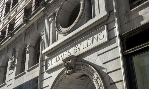 Exterior of 1133 Broadway St. James Building Managed by Kew Management