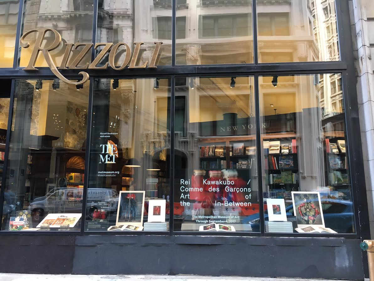 Comme des Garcons' Rei Kawakubo has her work on display at the Met and the Rizzoli Bookstore windows.
