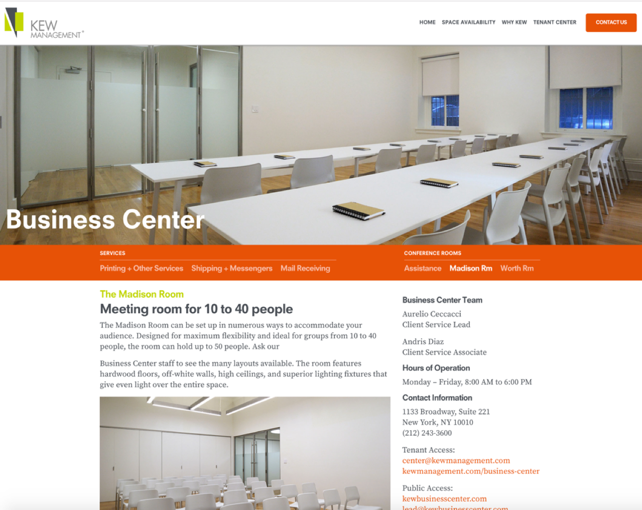 Info on Business Center & Conference Rooms - Kew Management
